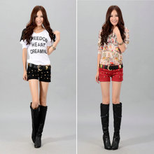 2013 new fashion cotton character skeleton belt pants short shorts and a half female jean shorts