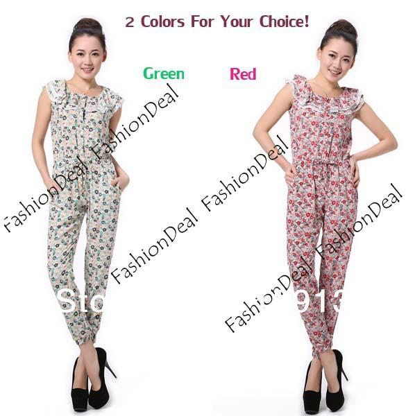 2013 New Fashion Elegant Women's Button Flower Print Romper Sleeveless Jumpsuit S M L Free Shipping 11228