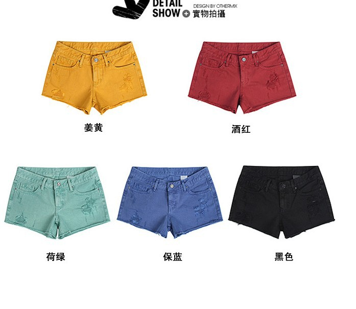 2013  new    Fashion ladies jeans / denim retro the frayed shorts / color pencil pants