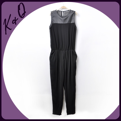 2013 new fashion spring jumpsuits casual  chiffon leather patchwork pants for women size of S, M, L factory dropshipping