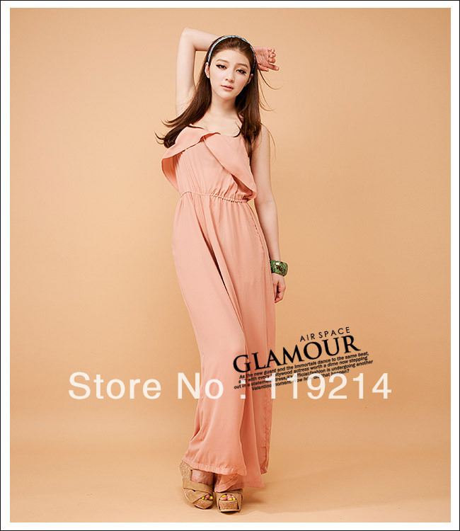 2013 new fashion Wholesale - - Elegance Spaghetti Falbala plus size sexy Jumpsuit pink  free shipping