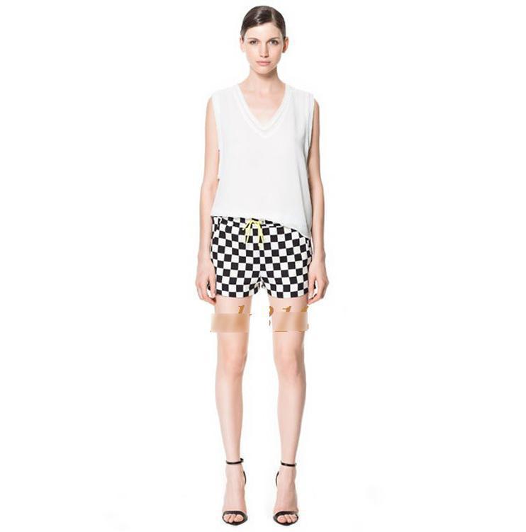 2013 New fashion woman geometric chess board printed designer shorts leisure chiffon straight short pants S-L free shipping S204
