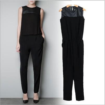2013 New Fashion Women's Elegant Vintage Siamese Trousers Quality Slim Fit Sleeveless Back Split Chiffon Jumpsuits Casual Pants