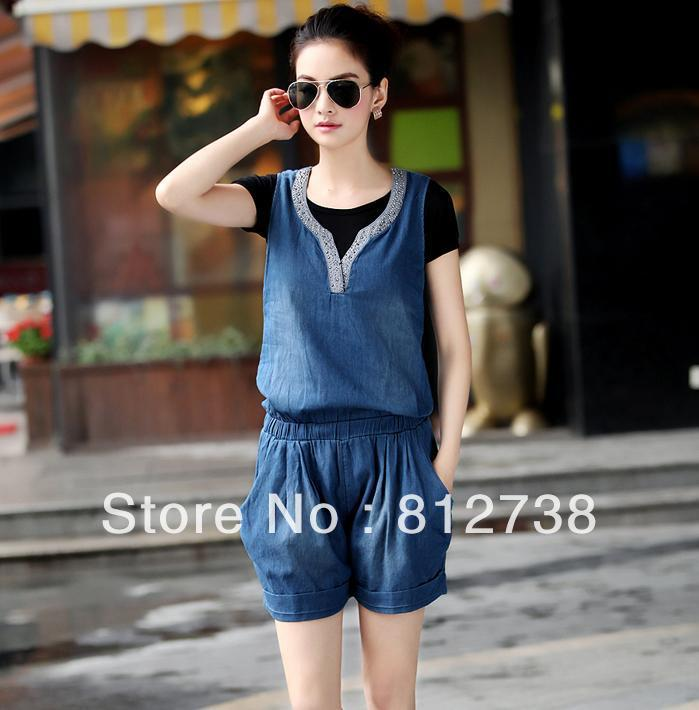 2013 new female - thin denim sleeveless piece pants jumpsuit pants coveralls shorts free shipping