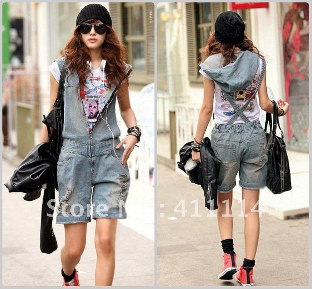 2013 new hot summer Fashion Cozy women clothes Piece shorts Strap worn flange Jeans Holes hats jumpsuit Rompers Pants T-shirt