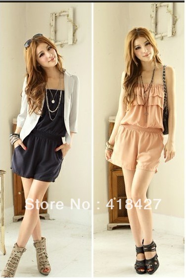 2013 new hot summer Fashion Cozy women clothes Ruffles Piece shorts  Harlan Bra Slim jumpsuit Rompers Pants 2 Colors