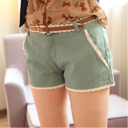 2013 New hot the wild summer new lace straight Shorts ( Belt ) Ftee shipping