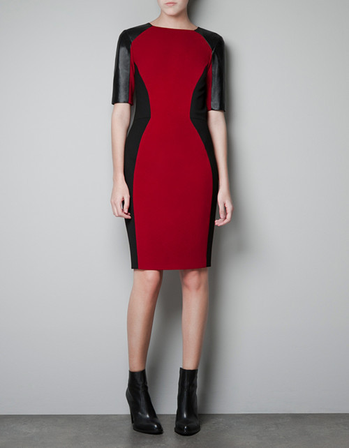 2013 NEW, International brand same style unique leather patchwork half sleeve red dress