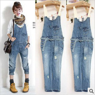 2013 new Korean women washing frayed denim overalls Jumpsuits Rompers Cute fashion Strap jeans I728 free shipping
