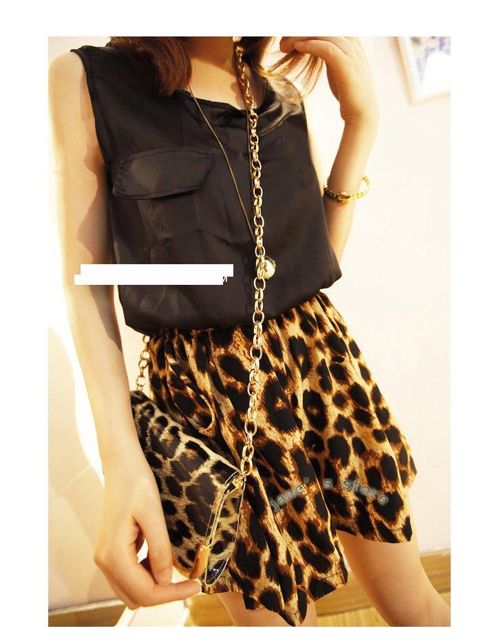 2013 new Leopard stitching a chiffon jumpsuit