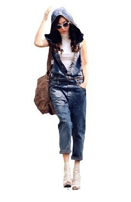2013 new loose thin denim overalls, coveralls, denim hooded
