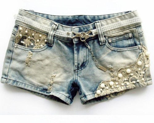 2013 New Low Waist Lace Beading Hole Denim Shorts Hot Short Pants Free Shipping SL13020202