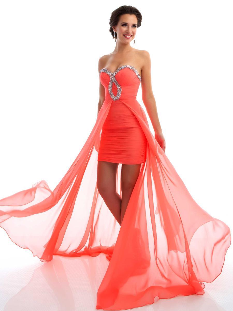 2013 New Neckline Custom Made Fashion Fornt Slit Royal Blue Organza Sheath High Low Back Key Hole Prom Dresses
