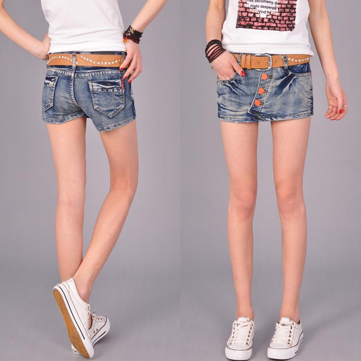 2013 new personality fashion denim shorts women summer low waist jeans culotte hot pants pants skirt worn out side