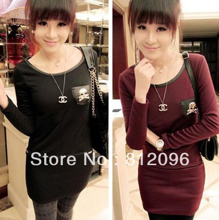 2013 new Promotions hot trendy cozy fashion women clothes casual sexy dress Plus thick velvet skull faux leather pocket  dress