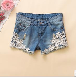 2013 new spring Korean fashion Hook flower hole cowboy women shorts straight mid solid hoie casual good quality