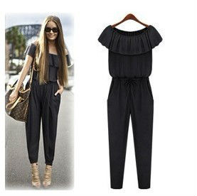 2013 New Spring Summer Solid Layers Bra Nine Points Flouncing Siamese Black Pants Capris Jumpsuits Rompers DropShip S03050018