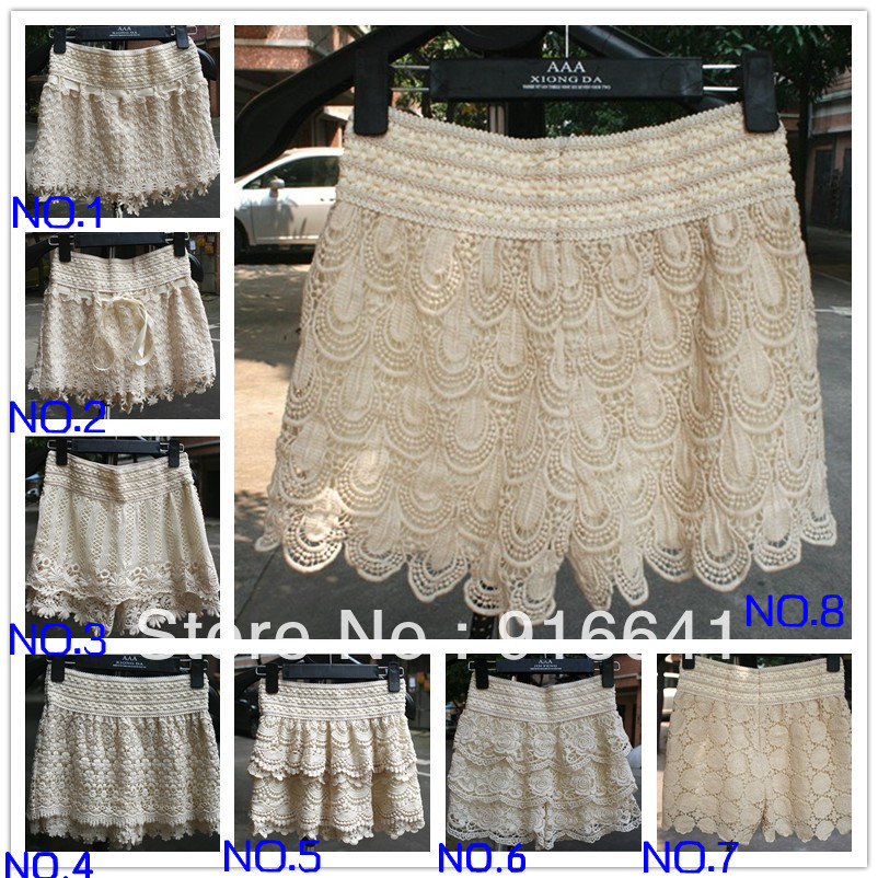 2013 New Spring Sweet Cute Crochet Tiered Lace Hollow out  Shorts Skorts Short Pants Beige /Black