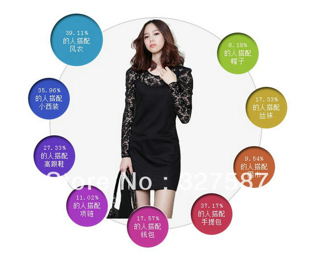 2013 New Spring / Women's Dress/ women dress Lace/ frock black S M XL XXL XXXL XXXXL free shipping 10pcs/lot