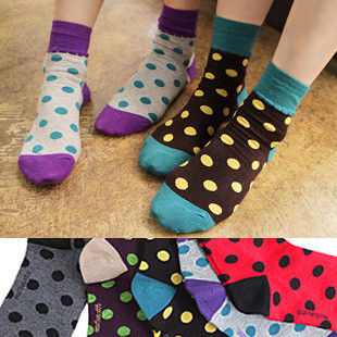 2013 new style Cute candy-colored dots wave point spell color cartoon socks women's socks free shipping