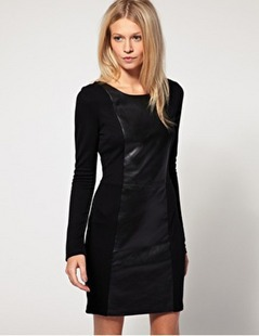 2013 new Style Vintage Ladies' Leather Spell skin dress free shipping