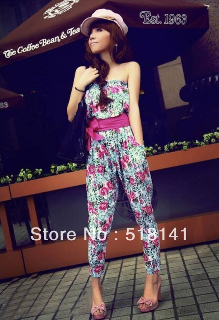 2013 new summer euramerican style floral jumpsuit in a belted strapless haroun pants jumpsuits