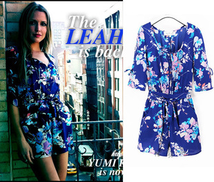 2013 new summer fashion beach cover ups blue chiffon floral print pattern flowers loose jumpsuit women romper short easywear