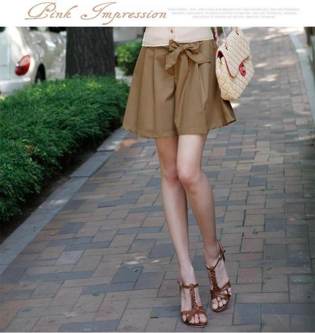 2013 New Summer Fashion Casual Women Leisure Shorts Pantskirts Culotte Ladies Loose Khaki Free Shipping