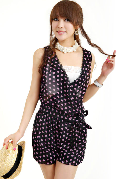 2013 new summer fashion red heart printed V-neck sleeveless chiffon jumpsuit Free shipping  L55