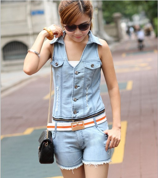 2013 New summer Han edition show thin jumpsuits Jeans Denim Jumpsuit Overalls Jeans Shorts women Free Shipping