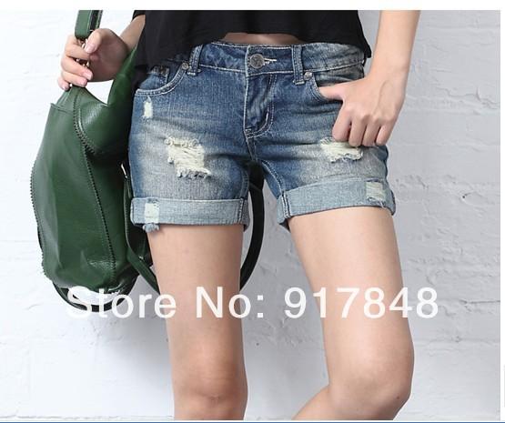 2013 new trend loose unedged frazzle  hole hot shorts   women super fashion retro cool hot denim shorts