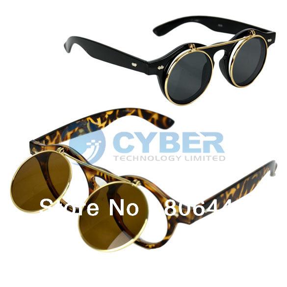 2013 New Vintage Retro Steampunk Men/Women's Sunglasses Flip Up Round Glass Free Shipping 8102