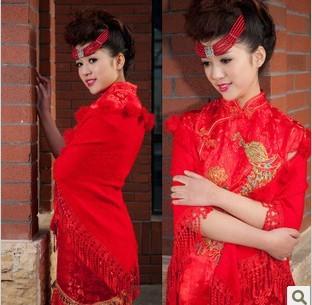 2013 new winter bride marriage wedding dress bride jacket the multicolor red wool shawl 09 Y5