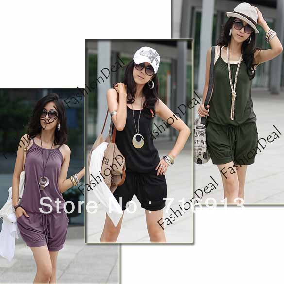2013 New Women Fashion Sleeveless Romper Strap Short Jumpsuit Scoop Three Color Free Shipping 3168