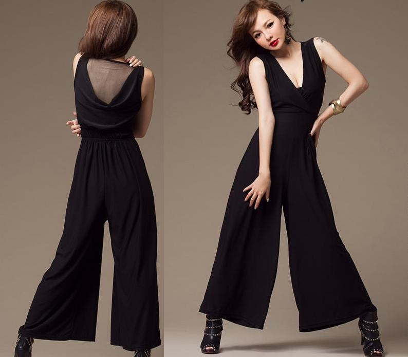 2013 new women's clothing quality pure color jumpsuits white gauze v-neck back jumpsuit leisure fashion personality