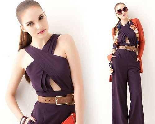 2013 new women's European and American sexy cross pants jumpsuit  hollow out