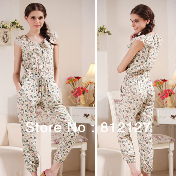 2013 New Womens Fashion Floral Lovely Casual Summer Sleeveless Belted Jumpsuit