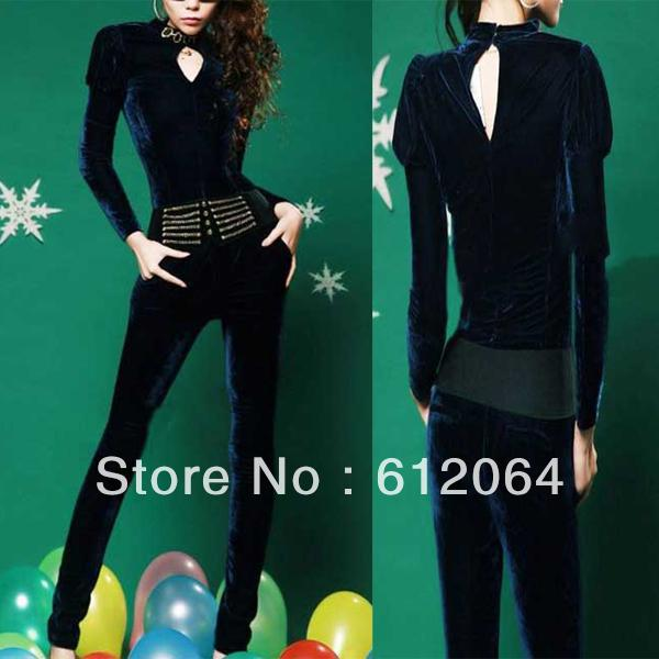 2013 New womens fashion Slim Jumpsuit Romper Pants peacock green with belt