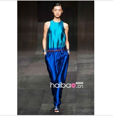 2013 newest  fasionable patchwork rompers.lady noble summer silk  jumpsuits, S M L free shipping