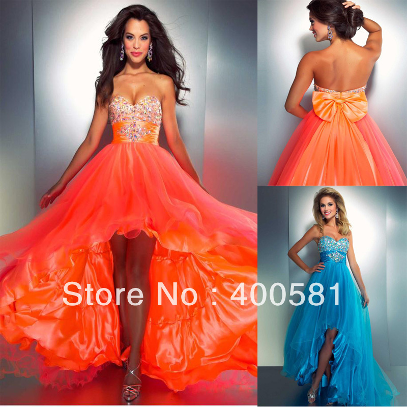 2013 Newest Sweetheart High Low Beaded Bust Ruched Stones Waist Bow Back Orange Turquoise Tulle Short Front Long Back Prom Dress