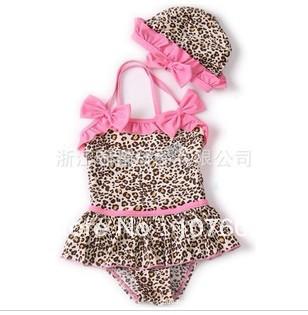 2013 News Cute Leopard Summer Pink Polka Dots Swimwear for Little Girl Five Sizes