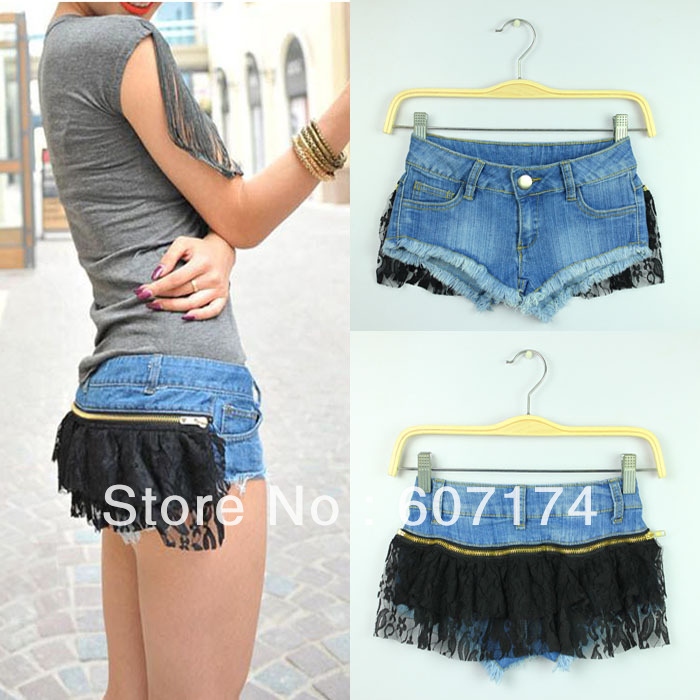 2013 Night Club Personality Ladies Sexy disassembly low-waist Lace Denim Jeans Shorts women's hot shorts Size:S-L #2400