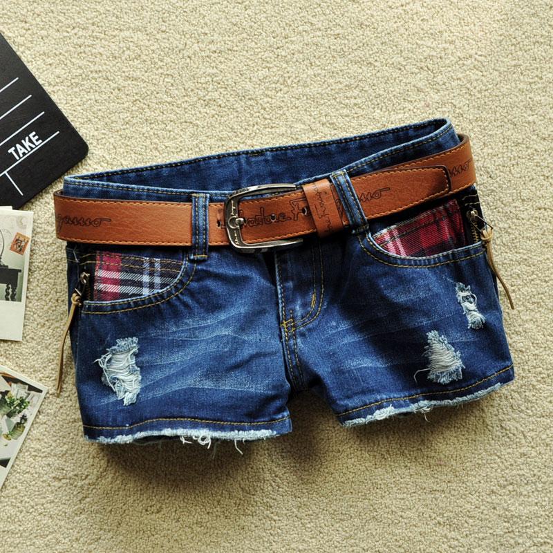 2013 Plaid Patchwork Women Shorts Distrressed Dark Blue Hot Pants Plus Size free shipping