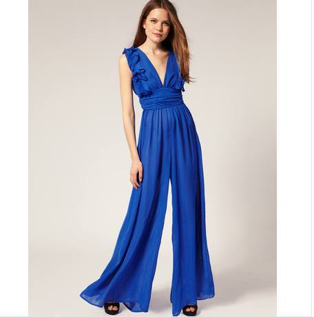 2013 sexy deep V-neck ruffle hem chiffon jumpsuit wide leg pants high waist women loose clothing black blue rose red