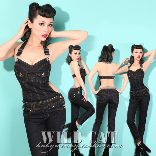2013 Sexy Denim Overalls BIB Low-cut Jumpsuit With Destoyed Look With Romper And Pants