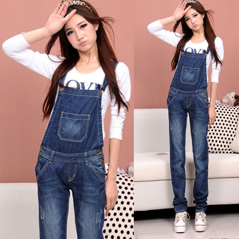 2013 sppring lady denim bib pants women's blue jean jumpsuit femeal casual loose straight trousers romper overalls for women