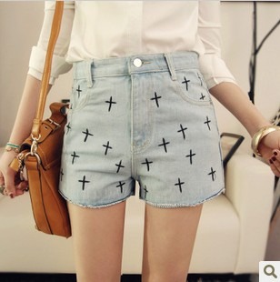 2013 spring and summer british style plus size vintage embroidery cross denim high waist shorts for women