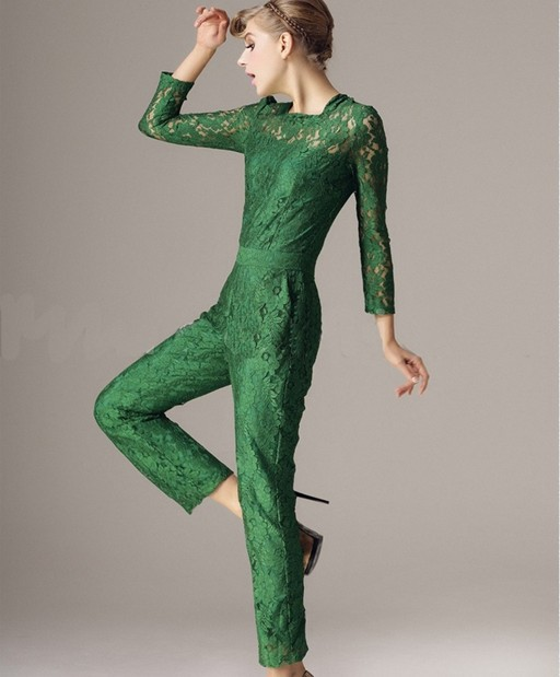 2013 Spring and summer Green lace long-sleeved ladies' jumpsuit free shipping high quality HXY