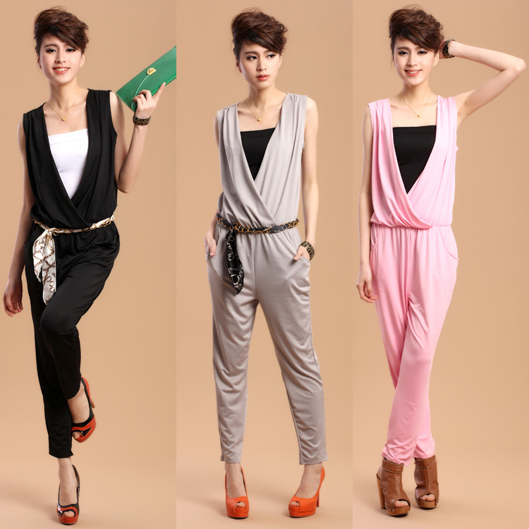 2013 Spring and summer New fashion V-neck harem pants jumpsuit plus size women's casual pants