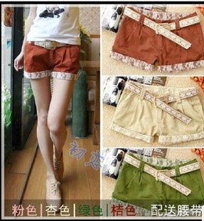 2013 spring and summer new Korean version of Women lace low waist straight candy colors leisure shorts hot pants